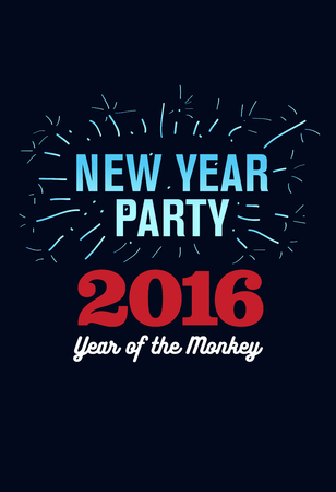 Happy New Year 2016, Banner or Pamphlet. Hand drawn fireworks. Eve Party celebration template