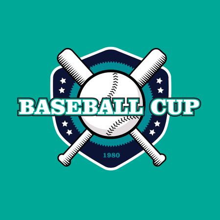 sport equipment: vintage color baseball championship icon or badge. Flat style design