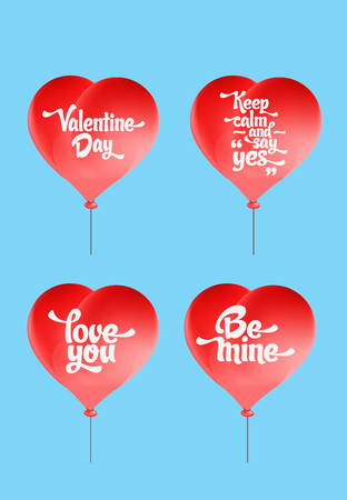 be mine: Vector red heart-shaped balloons set. Love elements with text love you, be mine, valentine day, keep calm and say yes for a Valentine day card. Illustration
