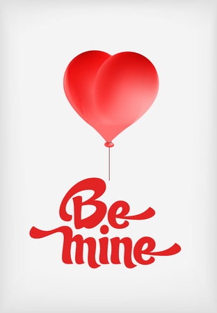 be mine: Vector red heart-shaped balloons set. Love elements with text Be mine for a Valentine day card. Illustration