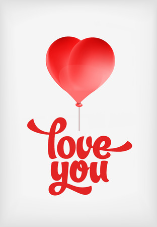 red balloons: Vector red heart-shaped balloons set. Love elements with text love you for a Valentine day card.
