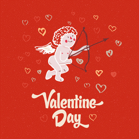 san valentin: illustration of Cupid on the retro love background for happy valentines day card. Illustration