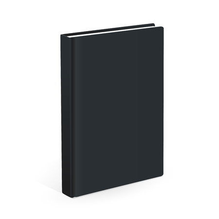Realistic black book on the white background. Realistic book mockups Çizim