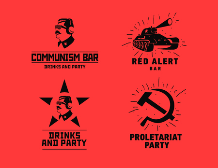 dictator: Communism style logos restaurant bar design vector template. Dictator, star and tank silhouette for night club party. Illustration