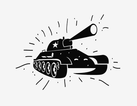 soviet: Vector silhouette of the Soviet tank. Vector hand drawn image Illustration
