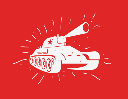 world war 2: Vector silhouette of the Soviet tank. Vector hand drawn image Illustration