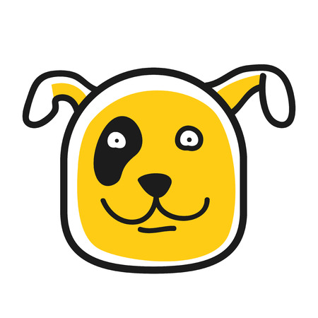 pawl: Cartoon animal head icon. Dog face avatar for profile of social networks. Hand drawn design. Illustration
