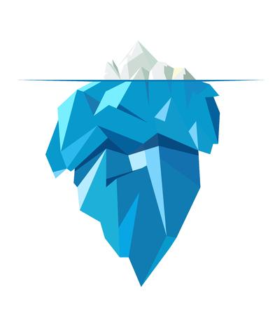 Isolated full big iceberg, flat style illustration.