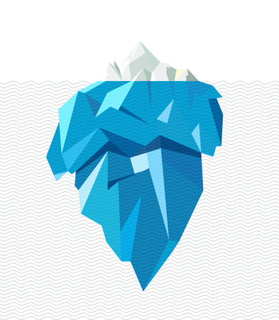 Isolated full big iceberg with line waves, flat style illustration. Banco de Imagens - 52562273