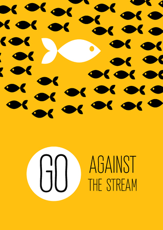crowd tail: fish swims against the stream. Creative yellow flat poster