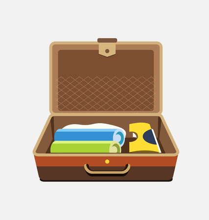 Packed suitcase for summer holiday - vector isolated illustration.