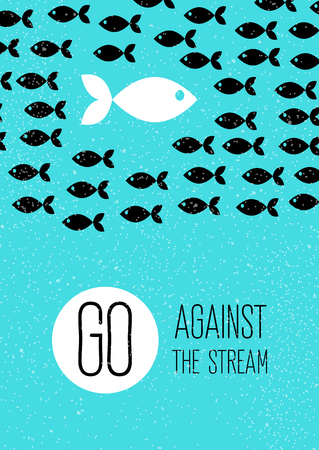 against: fish swims against the stream. Creative blue flat poster. Illustration
