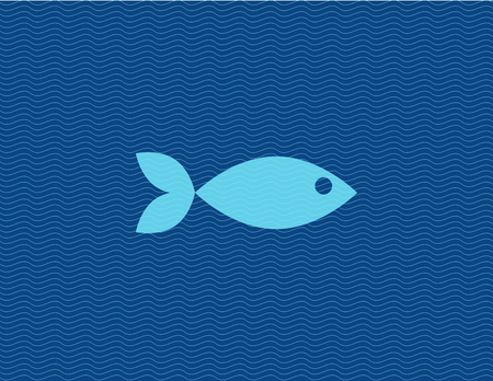 fish water: Vector flat illustration of fish against line waves. Creative simple icon.