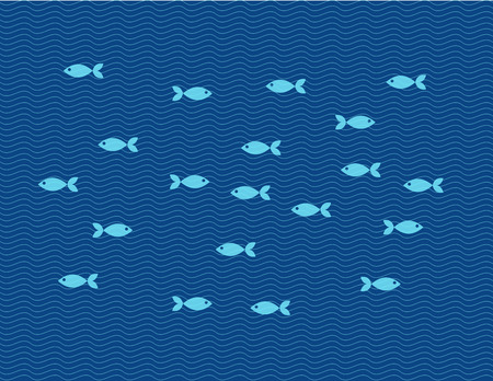 toy fish: Vector flat illustration of fishes against line waves. Fishing trip Illustration