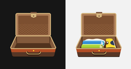 packed: Packed and empty suitcases for summer holiday - isolated illustration.