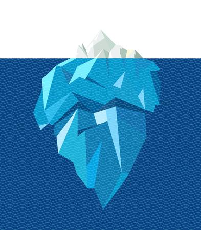 Geïsoleerde volledige grote ijsberg met lijn blauwe golven, vlakke stijl illustratie. Infographic elementen. Stockfoto