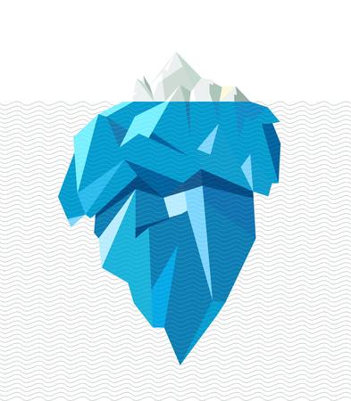 Geïsoleerde volledige grote ijsberg met lijn golven, vlakke stijl illustratie.