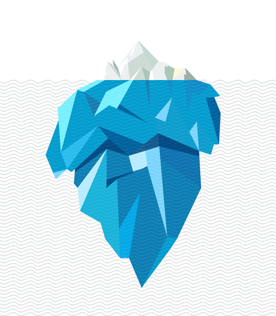 iceberg: Isolated full big iceberg with line waves, flat style illustration.