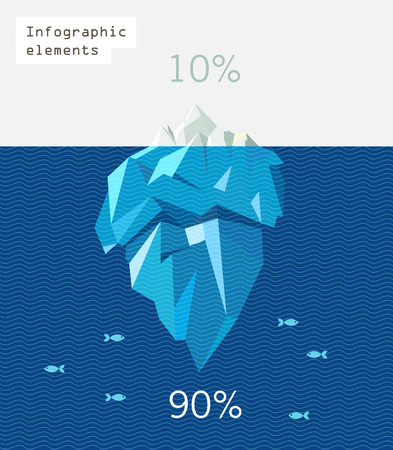 iceberg: iceberg infographic polygon flat illustration. Blue waves and small fishes
