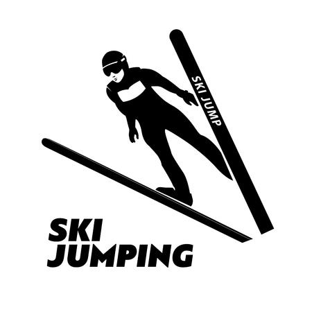 thrill: Jumping skier silhouette. illustration. Stock Photo