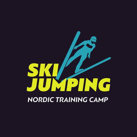 skier jumping: Ski sport icon template. Ski, jumping skier silhouette.
