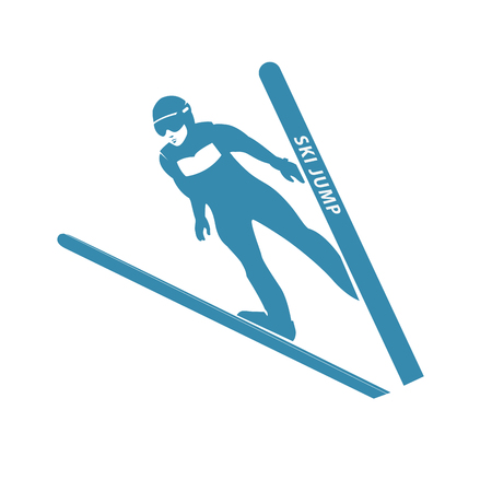 skier: Jumping skier silhouette. illustration. Stock Photo