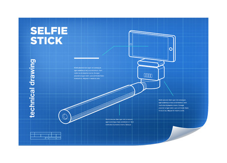 delineation: Technical Illustration with vector isometric line selfie stick drawing on the blueprint
