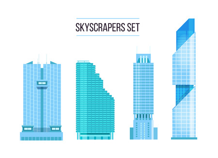headquarters: modern skyscrapers icons set. Flat design of the city elements. New office buildings with headquarters