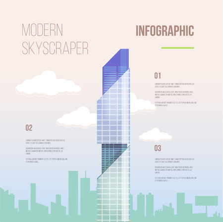 headquarter: City infographics of glass modern office skyscraper with texts and notes.