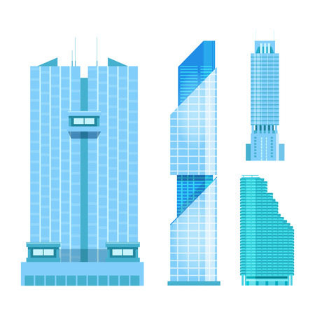 headquarters: modern skyscrapers icons set. Flat design of the city elements. New office buildings with headquarters. Illustration