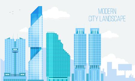 Moderne Fond Vue sur la Ville Gratte-ciel Paysage urbain avec Espace texte. Vector Illustration. Banque d'images - 54509581