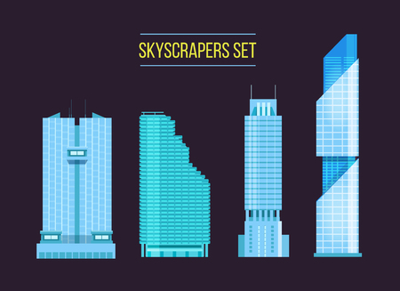 headquarters: modern skyscrapers icons set on the dark background. Flat design of the city elements. New office buildings with headquarters