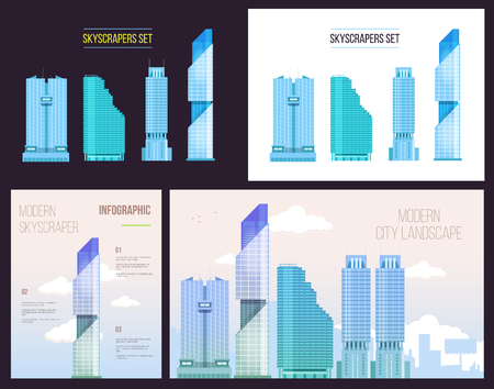 concrete commercial block: Big City infographics set of modern office skyscrapers with texts and notes.  Flat style design Illustration