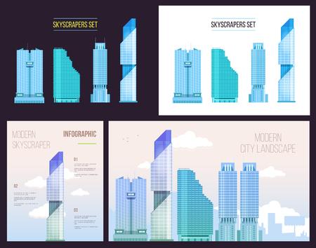 Big infographies ville mis de gratte-ciel de bureaux modernes avec des textes et des notes. conception de style plat