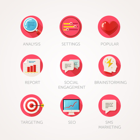 web marketing: Marketing agency icons set. Modern flat colored illustrations. Web industry objects, business, office and marketing items related icons. collection with long shadow in stylish colors.