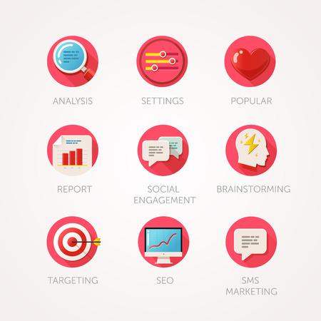 Marketingbureau pictogrammen instellen. Moderne flat gekleurde illustraties. Web industrie objecten, bedrijf, kantoor en marketing items gerelateerde pictogrammen. collectie met lange schaduw in stijlvolle kleuren.
