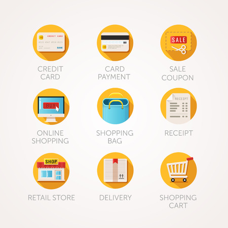 shopping icons set. Modern flat colored illustrations. Online commerce and retail business related icons. collection with long shadow in stylish colors