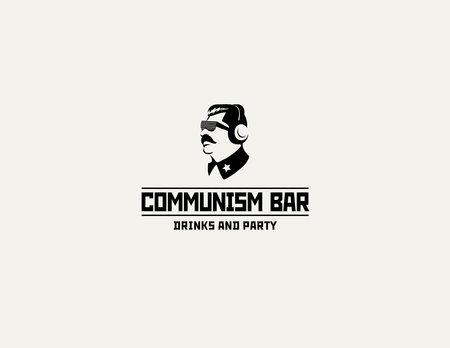 dictator: restaurant bar design template. Soviet dictator head icon silhouette concept for night club party.