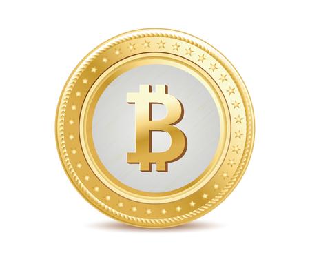 geïsoleerd gouden medaille Bitcoin vooraanzicht op de witte achtergrond
