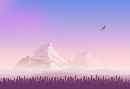 landscape. Snowy mountains, gradient sunset sky and the pine forest. Silhouette of an eagle flying in the sky.