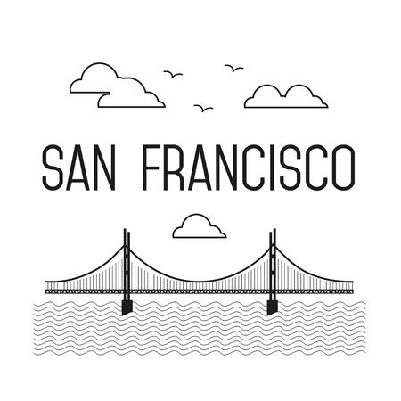 san francisco golden gate bridge: Monochrome San Francisco Golden Gate Bridge. San Francisco vector landmark illustration. Line flat style. San Francisco view
