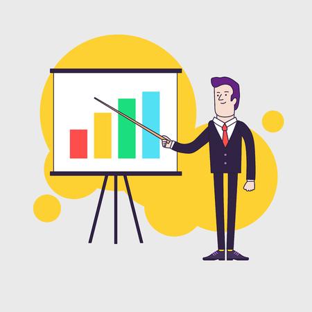 general manager: Modern businessman points to flipchart with colored bar chart. Line flat style illustration.