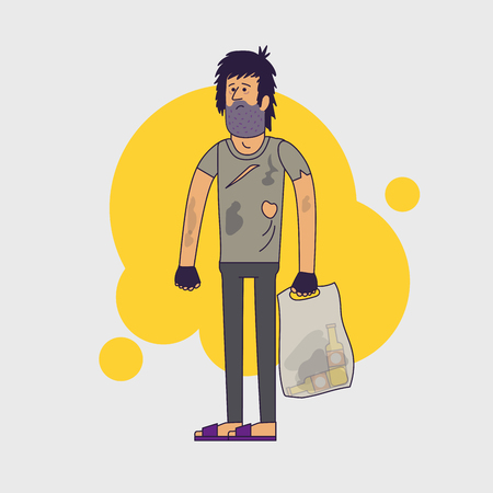 miserable: Dirty homeless. Shaggy man wearing dirty rags and with a plastic bag with empty bottles. Vector illustration. Linear flat style