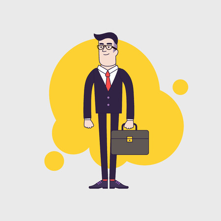 red tie: Young stylish serious businessman with leather briefcase. Employee wearing black glasses and red tie Illustration