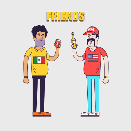 Creative vector illustration of friendship between mexicans and americans. Friends are drinking beer. Friendly neighborhood between USA and Mexico.