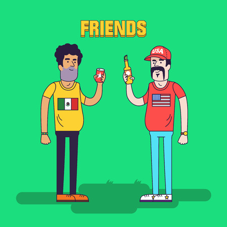 illegal alien: Creative vector illustration of friendship between mexicans and americans. Friends are drinking beer. Friendly neighborhood between USA and Mexico.
