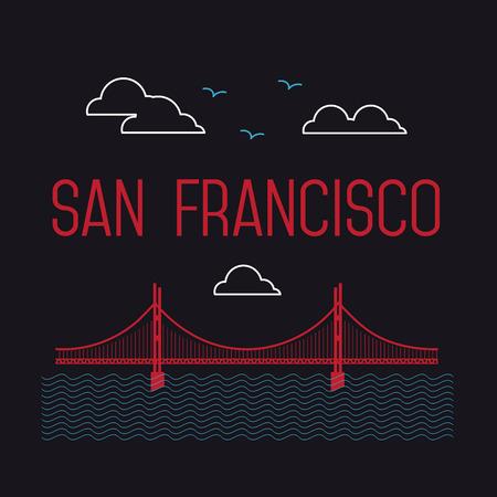 サンフランシスコのゴールデン ゲート橋。サンフランシスコのベクトルのランドマークのイラスト。フラット スタイルです。サンフランシスコ ビ
