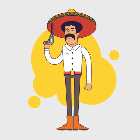 gunfighter: Mexican bandit with sombrero, mustache and big pistol