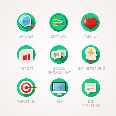 Marketing agency icons set. Modern flat colored illustrations. Web industry objects, business, office and marketing items related icons.