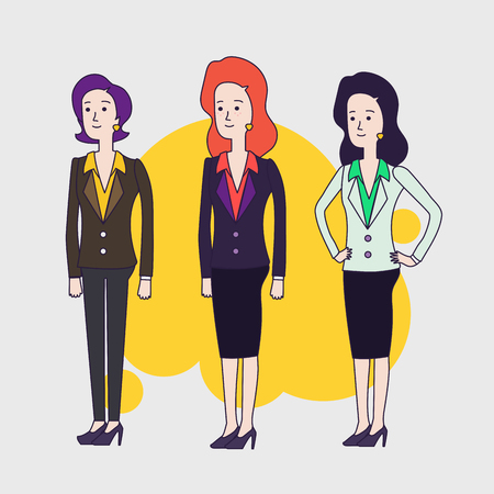woman short hair: Elegant business woman vector characters set. Different hairs and poses. Blrunette, red hair and short hair business women. Women wearing business clothing. Linear flat design.
